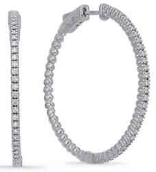 Large .54ct Diamond 14kt White Gold Classic Round 4 Prong Hoop Hanging Earrings