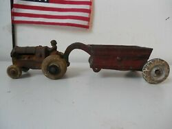 Vintage 1930's Cast Iron Tractor And Belly Dump Spreader Arcade, Ac Williams