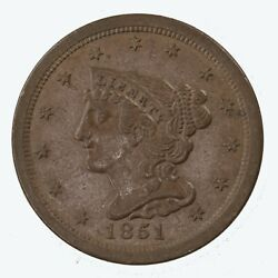 Raw 1851 Braided Hair 1/2c Uncertified Ungraded Us Copper Half Cent Coin