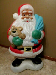 Vtg Empire African American Black Santa Claus Lighted Blow Mold- 39 Tall