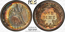 1887 Seated Liberty Dime Pcgs Pr66 Pop 16/2 Fiery Toning Only 710 Minted