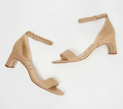 Sam Edelman Leather Ankle Strap Heeled Sandals Holmes Classic Nude $47.59