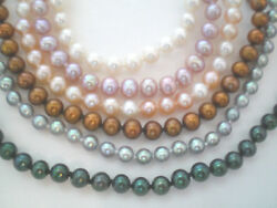 Set Of 6 Single Strand Freshwater Pearl Necklaces 18 Knotted .925 Clasp