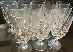 Lead Crystal Shannon Dublin Footed 12 Pc Water Goblets Godinger Stemware