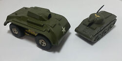 Lot 2 Vtg Toy Army Tanks Marx Usa Friction - Needs Repair - For Parts
