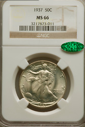 1937 Walking Liberty Half Ngc Ms66 And Cac Approved Stunning Lustrous White