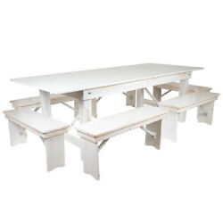 8and039 X 40 Antique Rustic White Folding Farm Table And Six Bench Set