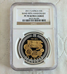 South Africa 2011 Silver Proof 5 Rand 90th Anniv Slabbed Ngc Pf70 Ultra Cameo