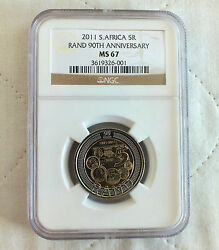 South Africa 2011 5 Rand 90th Anniv Slabbed Ngc Ms67