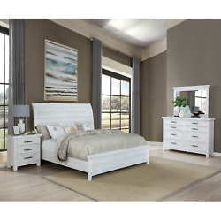 New Weathered White Rustic Farmhouse 4pc Queen King Sleigh Bedroom Set Bed/d/m/n