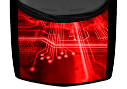 Circuit Board Code Technology Red Truck Hood Wrap Vinyl Car Graphic Decal