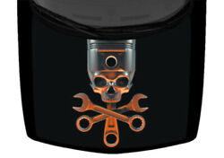 Skull And Crossed Tools Wrench Truck Hood Wrap Vinyl Car Graphic Decal 58x65