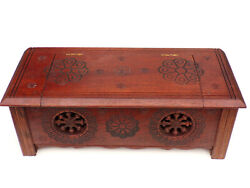 Old Quimper Breton Carved Wooden Wood Miniature Chest Box Doll