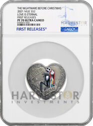 Nightmare Before Christmas - Love Heart Shaped Coin - Ngc Pf70 First Releases