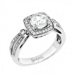 Simon G Tr 619 Engagement Ring In 18k White Gold With Cz.andnbsp Size 6 1/2 17mm