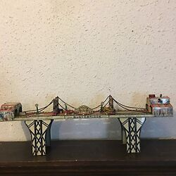 Original Vintage Busy Bridge Tin Winder Toy 6 Cars By Louis Mark And Co. 1930