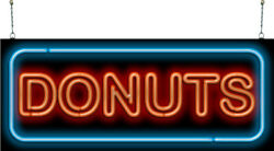 Xl Donuts Neon Sign   Jantec   37 X 15   Fresh Donuts Coffee Shop Bakery Light