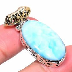 Republic Larimar 925 Solid Sterling Silver Tow Tone Jewelry Pendant 1.50