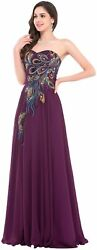 Formal Evening Gown Prom Chiffon Dress Purple Peacock Feather Embroidery Size14 $44.99
