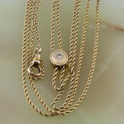 Antique 14k Yg Rope Chain With Slide And Watch Clip Diamond Set Circa 1920