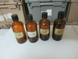 Rx , Drugstore ,old Glass Bottles ,tinctura Lot Of 4 , Vintage ,collectible