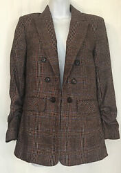 Veronica Beard Theron Jacket Brown Plaid Ruched Sleeve Hook Front Wool Size 2