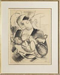 Benjamin Benno, Mother And Child, Gouache On Paper, Signed And Dated Lower Right