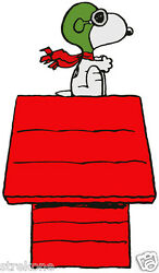 Beagle SNOOPY Red Baron WWI Flying Ace Doghouse Window Cling Decal Sticker NEW