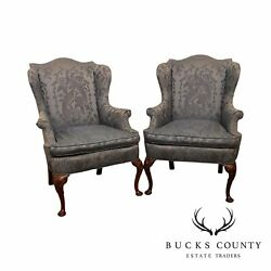 Hickory Chair Mahogany Queen Anne Style Pair Wing Chairs Frames