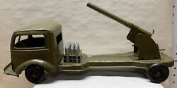 Vintage Kingsbury Toys Wind Up Army Artillery Cannon Truck - Complete Working