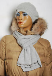 Women Gray Accessory Set 100 Cashmere Knitted Thermal Beret Hat Scarf
