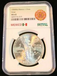 1984 Mexico Silver Libertad 1 Onza Ngc Ms 65 Awesome Reverse End Roll Toning