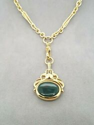 Ladies 9ct Solid Yellow Gold Chain With Green/black Spinner Pendant Preloved