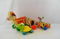Fisher Price Queen Buzzy Bee Little Snoopy Turtle Cow Vintage 60s 70s Pull Toys