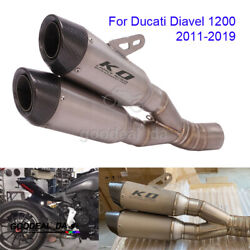 Motorcycle Exhaust System For Ducati Diavel 1200 2011-19 Link Pipe 60mm Mufflers