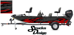 Graphic Pontoon Wrap Gray Red Tribal Fishing Abstract Bass Boat Fish Decal Vinyl