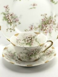 Theodore Haviland Limoges France Apple Blossom Set Plate Tea Cup And Saucer
