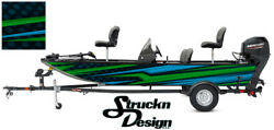 Lime Pontoon Wrap Modern Lines Fishing Abstract Graphic Us Bass Boat Decal Vinyl
