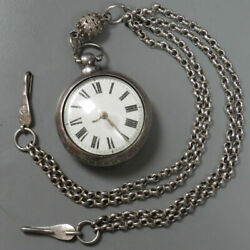 1834 London Sterling Silver Paircase Verge Fusee Pocket Watch With Great Chain