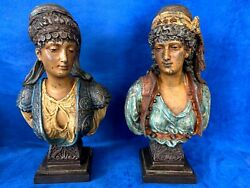 Antique Pair Of Orientalist Bust Cold Painted On Metal