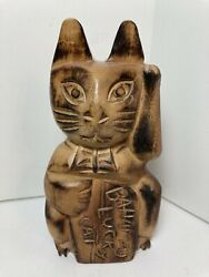 Carved Wooden Bahamas Lucky Cat Figurine 6""
