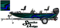 Distressed Teal Blue Pontoon Modern Fishing Graphic Boat Vinyl Wrap Decal Bass