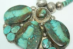 Very Old Rare Navajo Old Pawn Sterling Silver Smoky Bisbee Necklace Sb