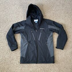 Columbia Menand039s Hooded Animony Waterproof Jacket Size S Black And Gray Small Wm4115