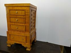 Antique Queen Anne Handmade New French Polish Tiger Maple Chest Lingerie1745