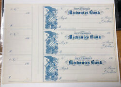 1860s New Bedford Ma Mechanics Bank - Uncut Remainder Sheet Of 3 Bank Checks