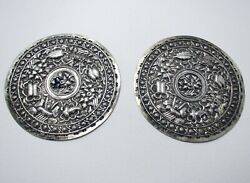 Rare Straits Chinese Peranakan Antique Solid Silver Pillow Ends Buntal Plates