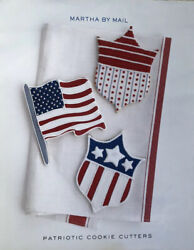 Martha By Mail Giant Copper Cookie Cutter Patriotic Set - Flag And Shield
