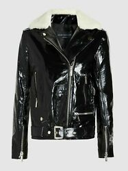 Nour Hammour Womenand039s Patent Lambskin Leather Biker Jacket With Shearling Collar
