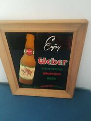 1950s Weber Beer Waukesha Wisconsin Indian And Water Reverse On Glass Sign Rare